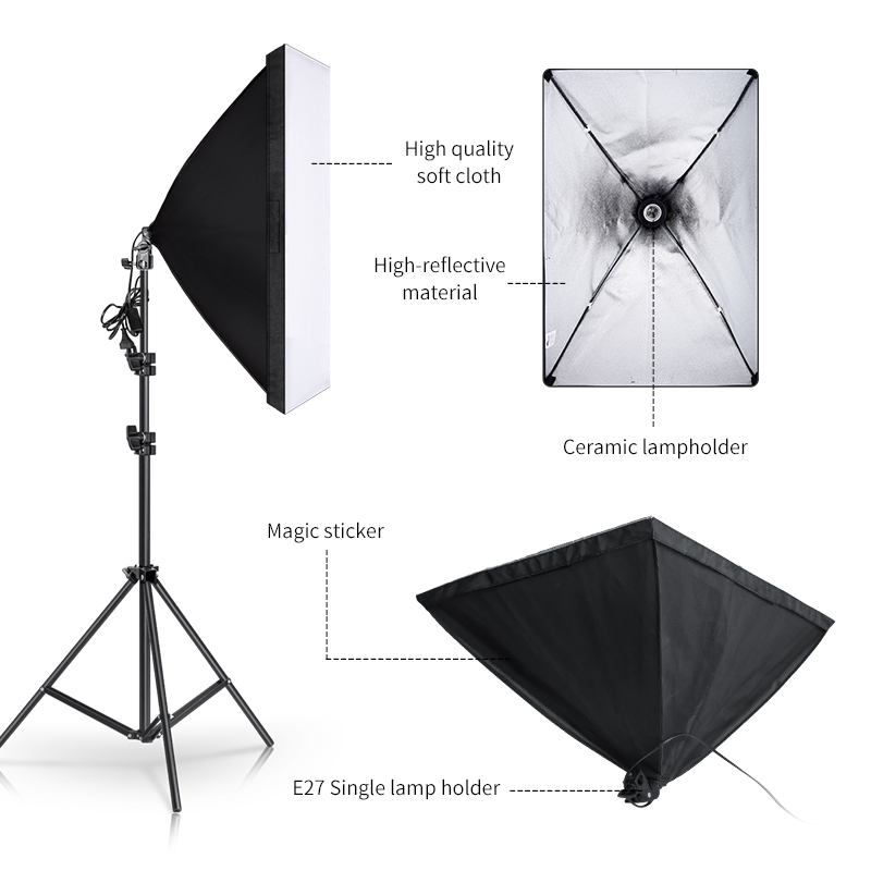 Softbox Lighting Kit Professional Studio Photography Continuous Equipment with 20W LED 5500K E27 Socket Light for Photography 2