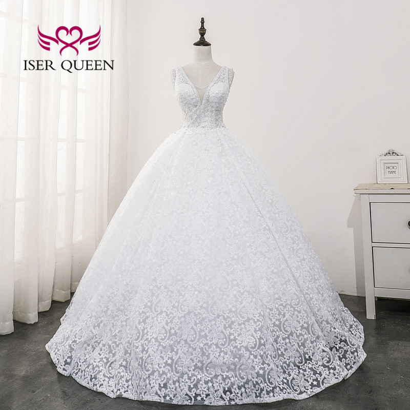 V Neck Vintage Lace Wedding Dresses 2020 Middle East And Europe New Fashion Backless Princess Wedding Dress WX0169