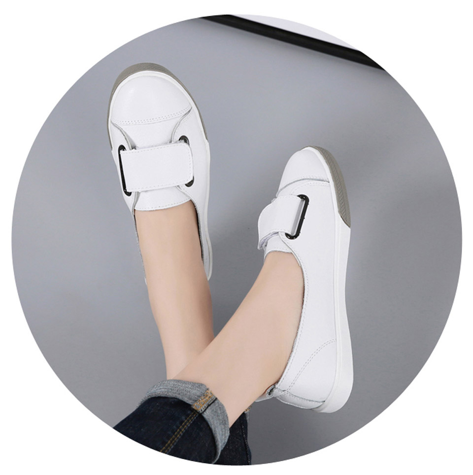 H0433c2667dfd43af85fa245a4c4aa43bK - Ngouxm Fashion Women Loafers Flats Woman Lady female Slip On White Genuine Leather Moccasins Casual Shoes zapatos de mujer