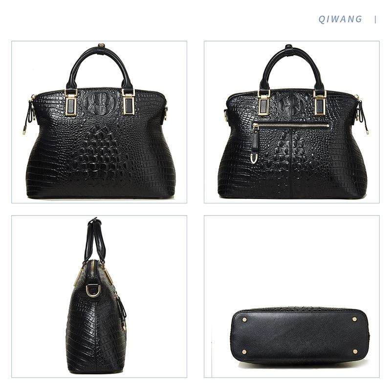 Qiwang Classical Luxury Women's Shoulder Bag 100% Genuine Crocodile Leather Black Handbag Brand Designer Tote Bag Large Capacity-in Top-Handle Bags from Luggage & Bags    2