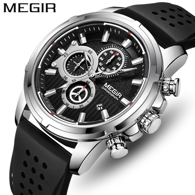 <font><b>MEGIR</b></font> Mens Watches Top Luxury Brand Fashion Silver Black Waterproof Date Watch Men Casual Sport Chronograph Quartz Wrist Watch image