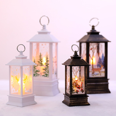 Christmas Decoration Hanging Prop Led Candles Halloween Light  Santa Claus Elk Snowman Lantern Flame Lamp Party Supplies
