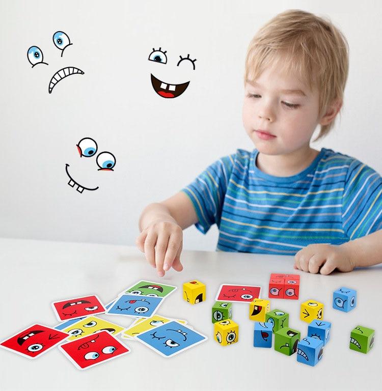 חדש מונטסורי ביטוי פאזל פנים שינוי קוביית אבני בניין צעצועי למידה מוקדמת חינוכי משחק צעצוע לילדים מתנה 7