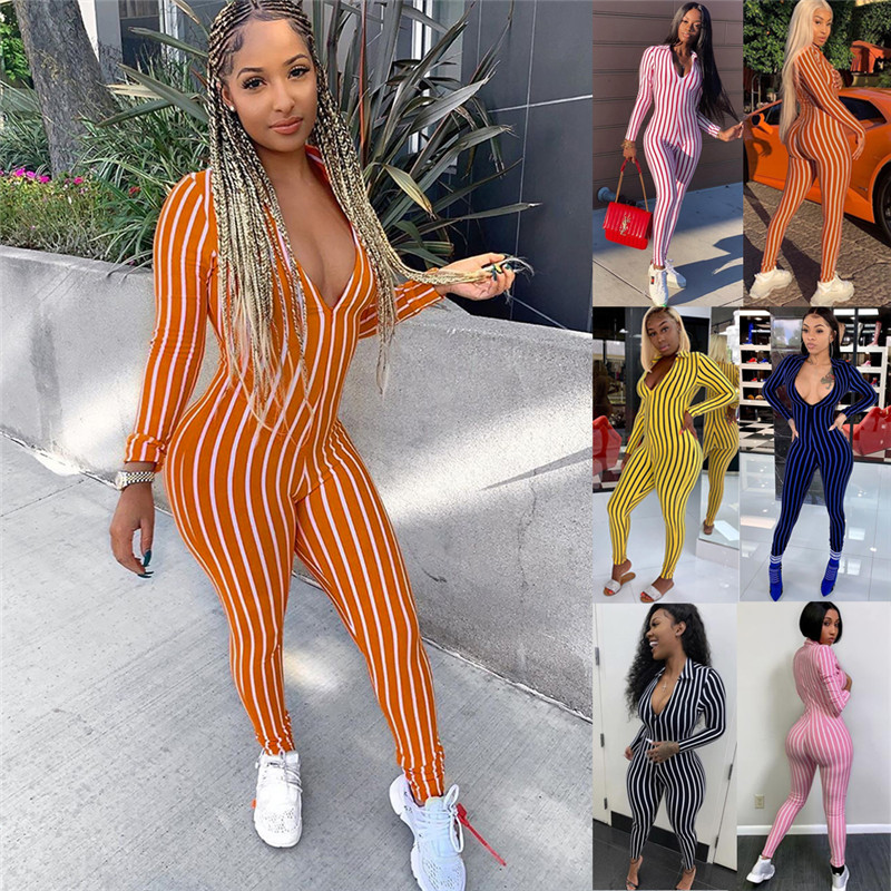 Women Long Sleeve Striped Jumpsuit Romper Casual Clubwear Pants Outfit Deep V-neck Bodycon Slim Romper Jumpsuit Outwear Hot Sale