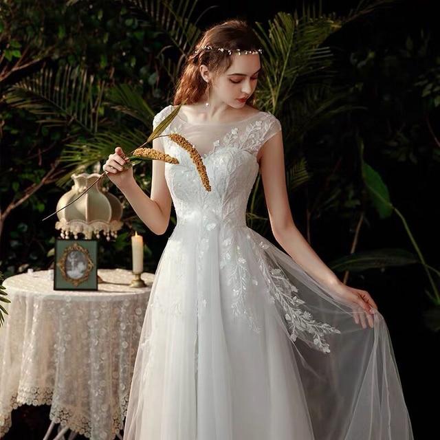 Boho robe de mariee vestido novia wedding dress longue Robe De Soiree simple robe de soiree bride to be gown lace robe 1