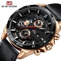 Reloj de pulsera deportivo Para Hombre, cronógrafo de cuero, estilo militar, informal, Moderno, novedad de 2021