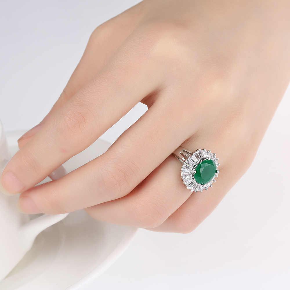 1 sztuk w stylu Vintage klasyczny srebrny Plated zielony kryształ w owalnym kształcie pierścień kobiety biżuteria
