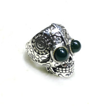 Unique Blue Amber Retro Gothic Punk Skull Men Rings Stainless Steel Skull Ring Adjustable Halloween Accessories Love Gift(China)