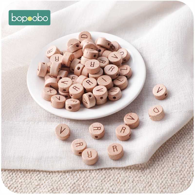 Bopoobo 30pc contas de madeira alfabeto inglês grau alimentício material roedor pequena haste para diy bebê dentição chocalho dentição grânulos
