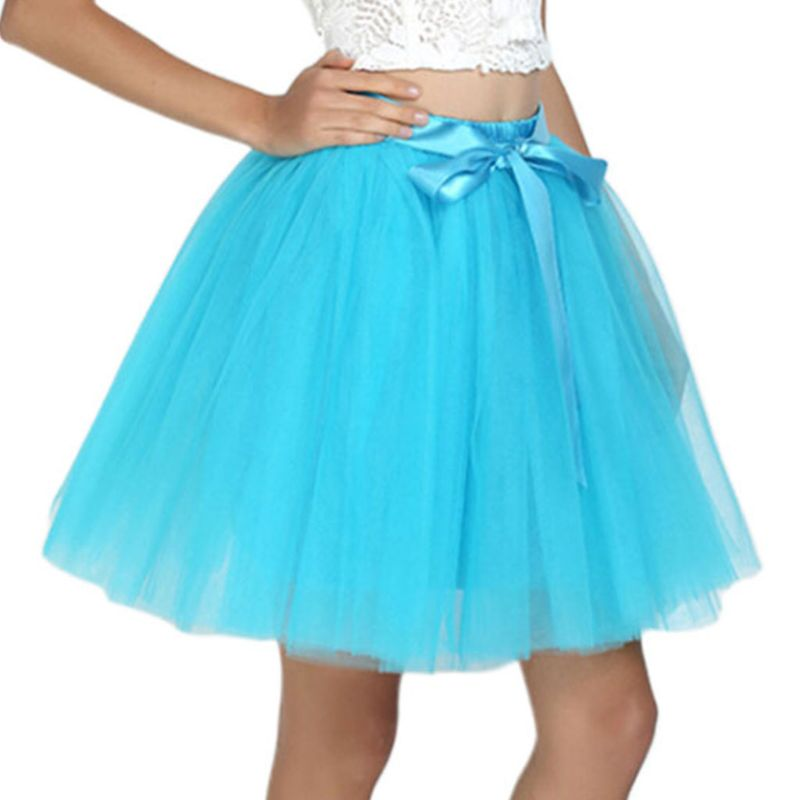 15 Colors Women Adult 7 Layers Tulle Mesh Midi Tutu Skirt Solid Color Ballet Dance Costume Satin Lace Up Bowknot Petticoat Dress