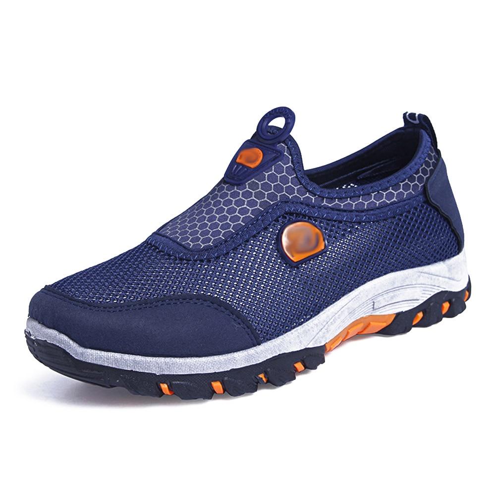 חדש גברים נעלי רשת לנשימה ספורט נעלי הליכה מזדמן החלקה ללבוש עמיד הליכה Sneaker