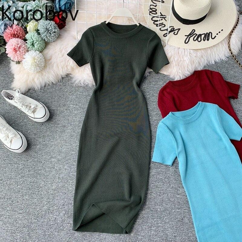 Korobov 2019 New Short Sleeve Solid Vintage Women Dress Korean Knit Stretch Waist Elegant Dresses O Neck Bodycon Vestidos 78956