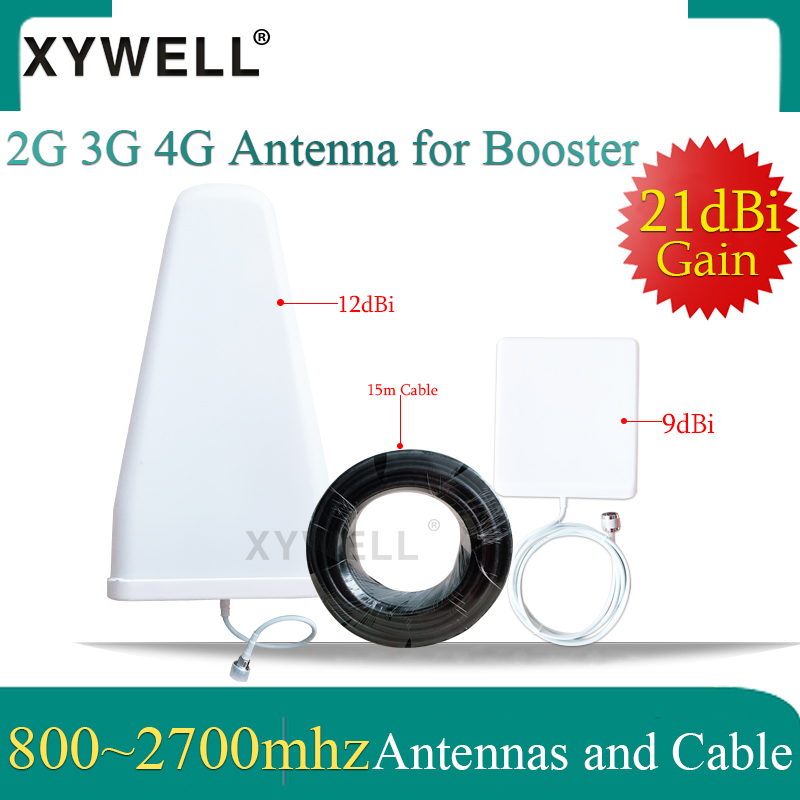 XYWELL 21dBi 4G Antennas 800~2700mhz LPDA Outdoor Antenna Panel Indoor Antenna 15 Meter Cable For 2G 3G 4G Mobile Signal Booster
