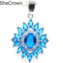 New Arrival Created Paris Blue Topaz White CZ Gift For Girls Silver Pendant 36x22mm