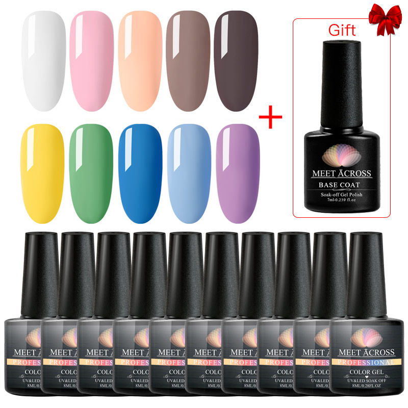 MEET ACROSS 10pcs/set Color UV Gel Nail Polish Nail Art Semi Permanent UV LED Gel Varnish Base Top Coat Gel Lacquer