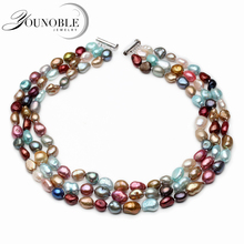100% Real Natural Freshwater Baroque Pearl Necklace Women,Wedding 3 Row Colorful Multi Layer Birthday Gift