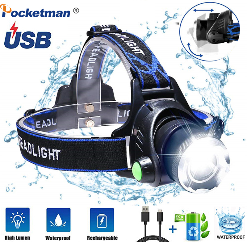 Led Headlamps 6000lumens T6/L2Headlight Waterproof Zoomable Lantern 3Mode Head Torch By 18650 Battery Best For Camping Fishing