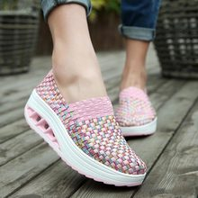 Summer Woven Platform Sneakers Sport Woman Sports Shoes Lady Running Shoes for Women Shoes Fitness Slimming Swing Pink  E-251