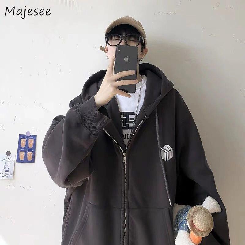 Hoodies Men Zipper Oversize Large  Size 4XL Loose Hip-Hop Streetwear Kpop Harajuku Printed Hooded Thick Warm Velvet Ulzzang New