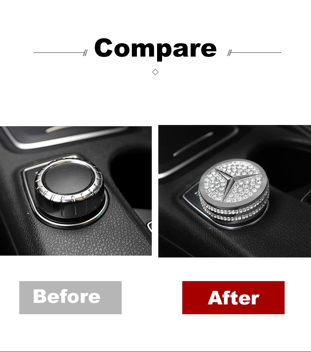 Image 3 - Bling Crystal Shiny Diamond interior Multimedia Media Control Cover Accessory for Mercedes Benz-in Automotive Interior Stickers from Automobiles & Motorcycles