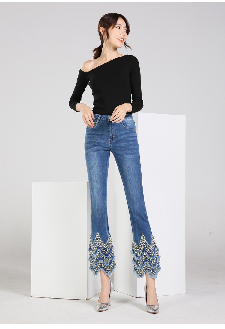 KSTUN FERZIGE Jeans for Women high waist blue elasticity flare pants embroidered beads luxury sexy female trousers brand jeans mujer 11