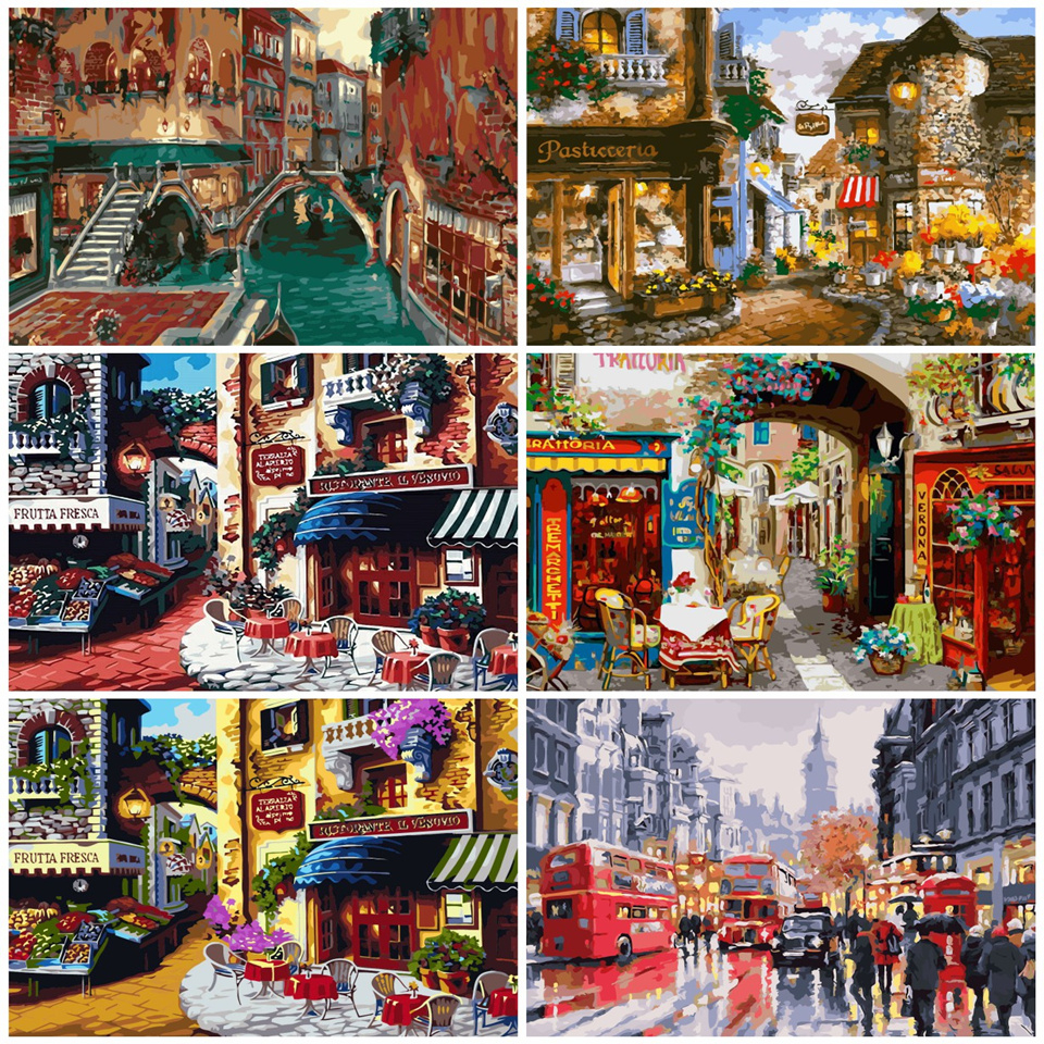 AZQSD DIY Landscape Oil Painting City Street Painting By Numbers Shop Paint Canvas Picture Hand Painted Modern K014