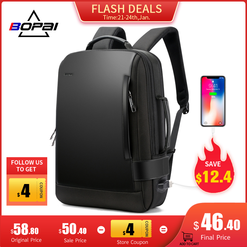 BOPAI homme sac à dos 15.6 pouces sacoche pour ordinateur portable noir extensible Mochila pour homme USB charge mâle voyage Nylon sacs à dos