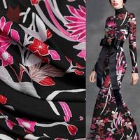 Italy floral printed style nice draped cloth imitation linen silk fabric for autumn dress pants coupon de tissu telas SP5877