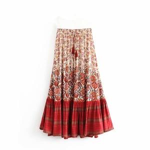 Image 4 - Boho Queens 패션 히피 여자 꽃 프린트 술 해변 보헤미안 스커트 고탄성 허리 Boho rayon Maxi skirt Femme