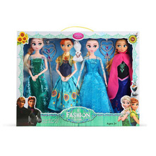 High Quality 4PCS/Lot Boneca 30cm Elsa Doll Girls Toys Fever 2 Princess Anna And Dolls Clothes For  Girl Xmas gift