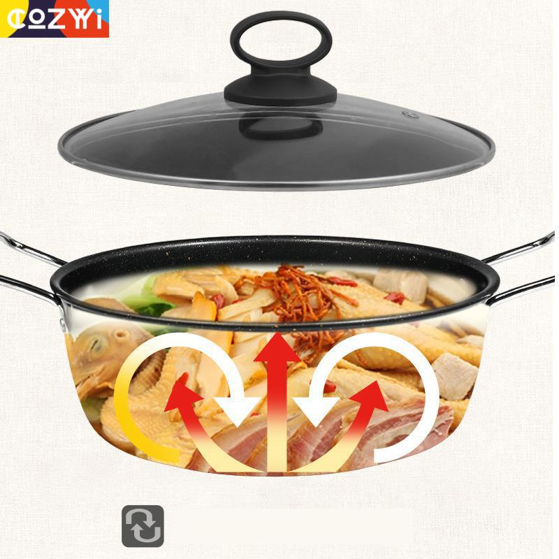 Household Sauce Pan Large Capacity Non Stick Casserole For Soup Food Stainless Steel Side Ear Portable Kitchen Cooker