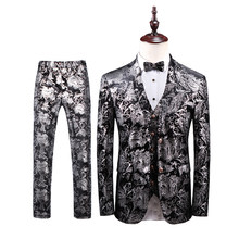 Blazer 2020 Bloemen Suits Mens Business Formele Slijtage Smoking 3Pc Plus Size Trouwjurk Pak Mannen Kostuum Homme(China)