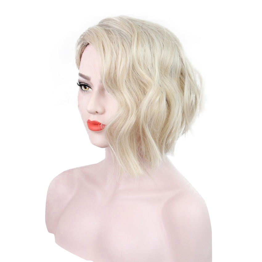 Women Wavy Blonde Wig with Bangs Synthetic Hair Toupee Medium Length High Temperature Fiber