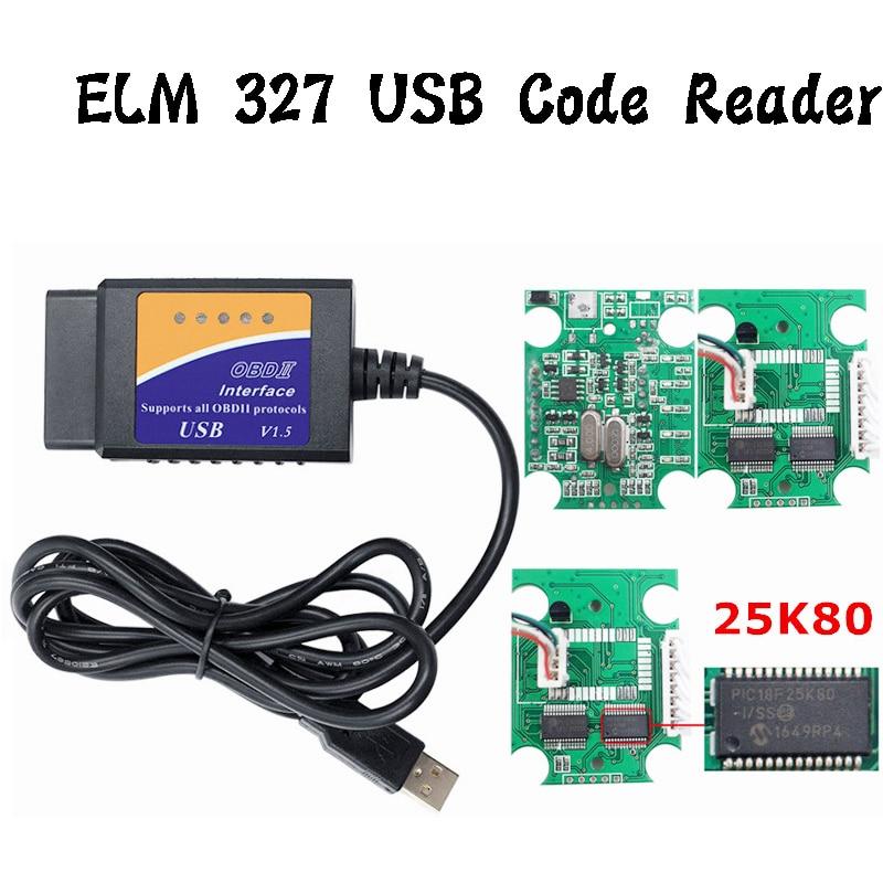 Real 25K80 V1.5 ELM327 USB Interface OBD II Car Diagnostic Scan Tool ELM 327 USB Code Reader ELM-327 1.5 For All OBD2 Protocols