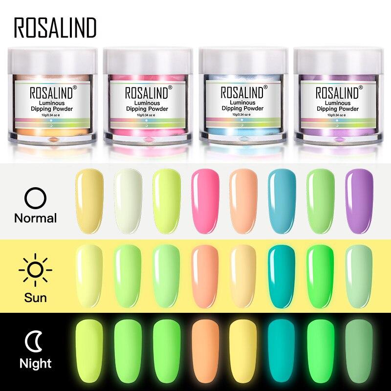 ROSALIND Leucht Tauch Pulver Nail art Dekorationen Keine Notwendigkeit Gehärtet 10g Holographische Pulver Glitter Dip Nagel Staub Ohne Lampe