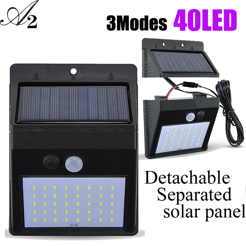 A2 40LED Solar Lamps Lantern PIR Sensor Outdoor Solar Power Wall Light Energy Saving Waterproof Ip 65 Garden Separation Moden