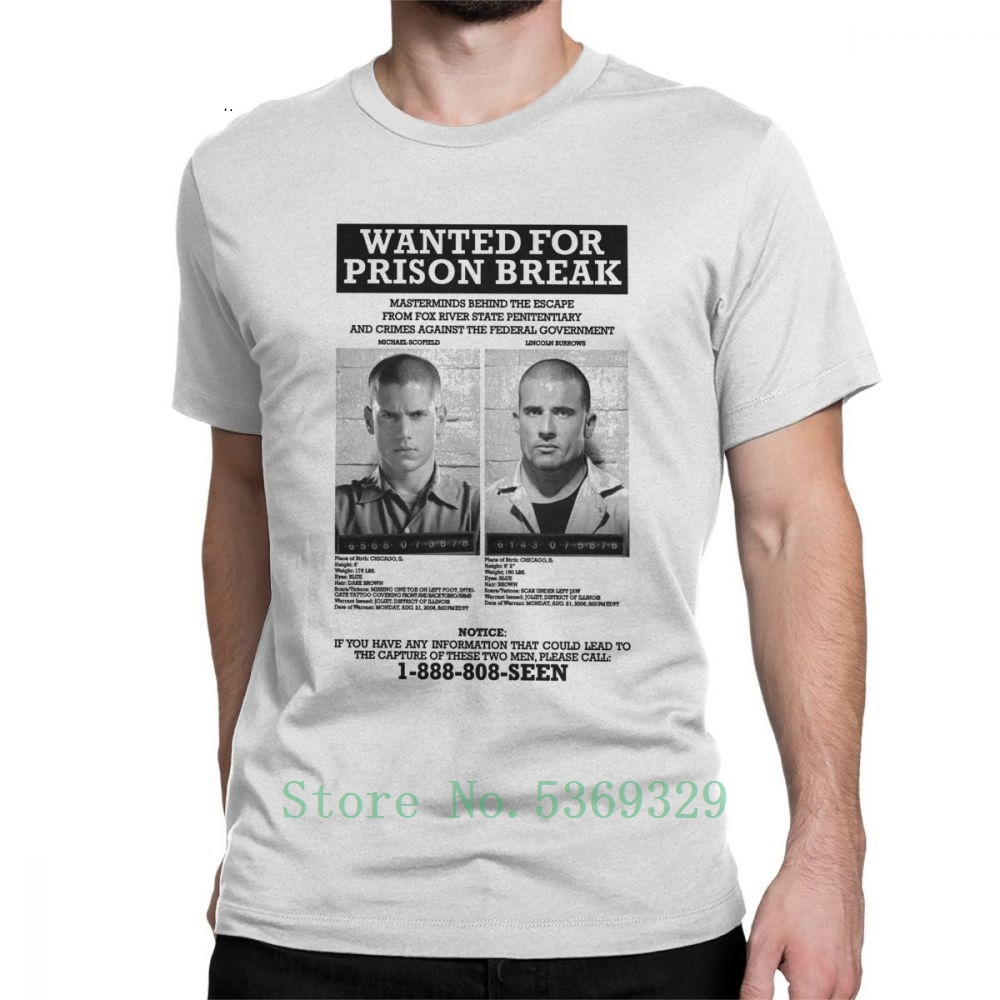 Wanted For <font><b>Prison</b></font> <font><b>Break</b></font> T <font><b>Shirts</b></font> For Men Printed T-<font><b>Shirts</b></font> 100% Cotton Tee <font><b>Shirt</b></font> Short Sleeve Funny Clothes image