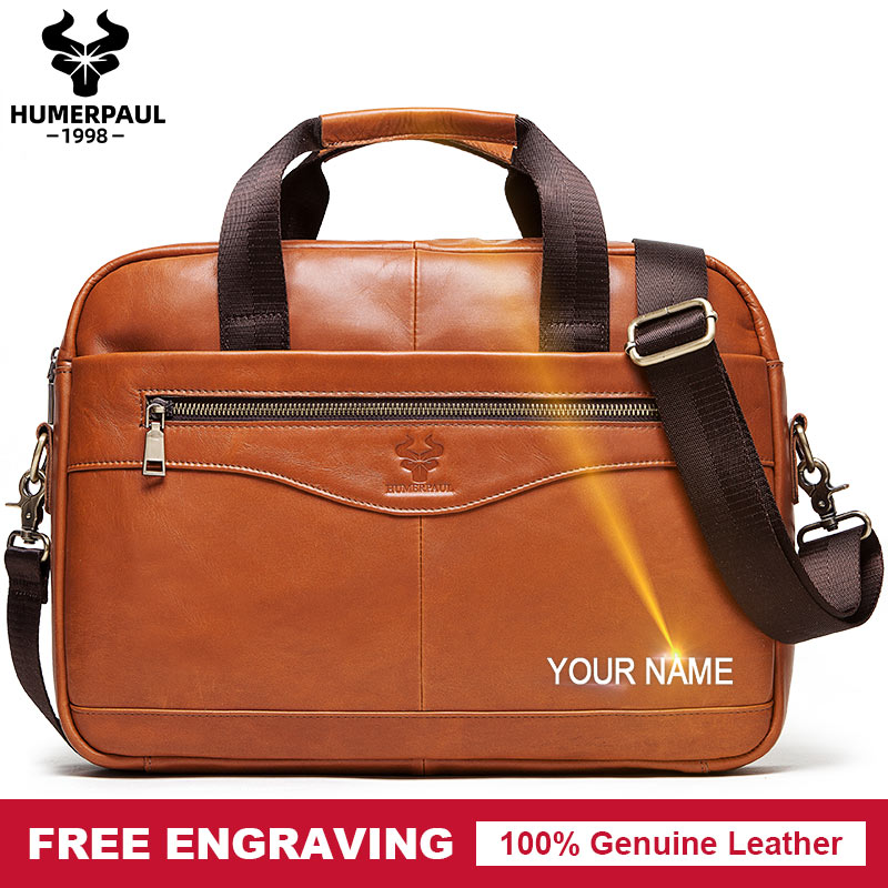 Free Engrave Men Briefcase Bag High Quality Business Leather Shoulder Messenger Bags Office Messenger Tote Shoulder Bolsas Sac