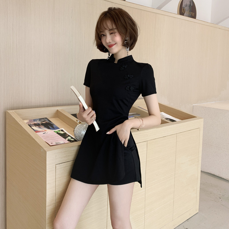 BacklakeGirls Black Trim Skinny Cheongsam Women Casual Short Sleeve Top With Shorts Two Piece Set Sexy Night Club Women Outfit