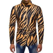 2019 new arrival striped shirt men cotton long sleeve good quality zebra pattern mens dress shirt contrast men contrast binding striped tee