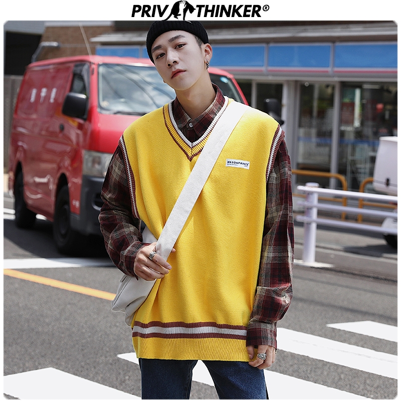 Privathinker Pullover Sweater Men Autumn V Neck Clothing Slim Vest Sweaters Sleeveless Men's Warm Sweater Cotton Casual 2019