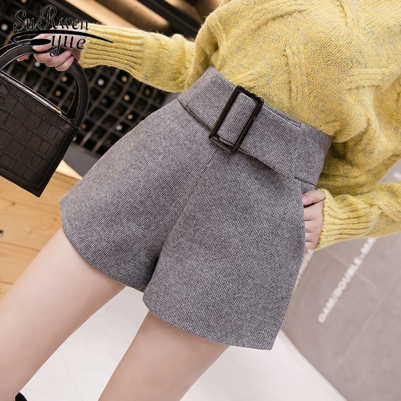 Fashion Wool Shorts Women 2019 New Autumn And Winter High Waist Shorts Casual A-word Wide Leg Elegant Short Women 7800 50