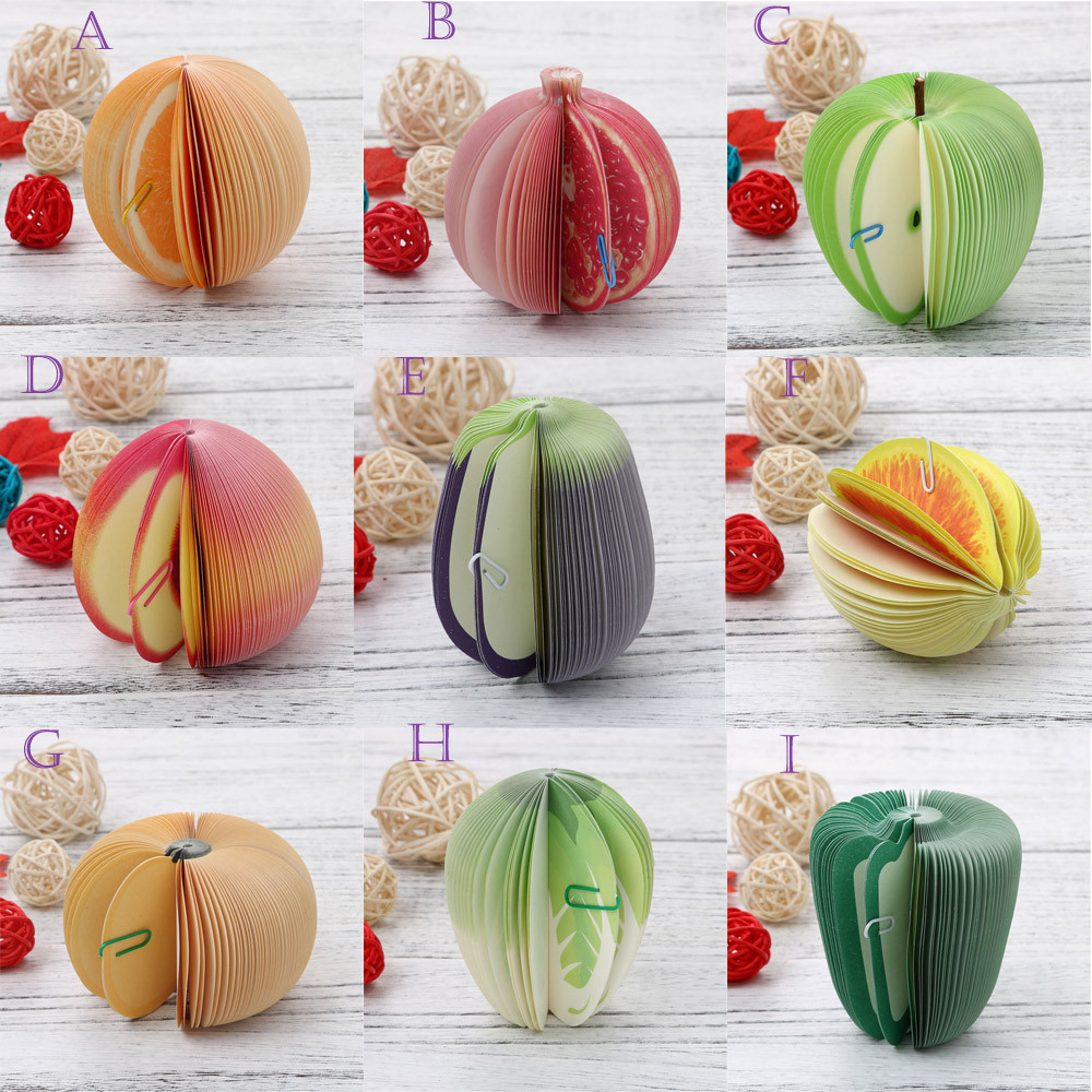 Cute Sticky Notes DIY Fruit Vegetable Self-Adhesive Memo Pads Stickers Paper Office School Stationery Supply
