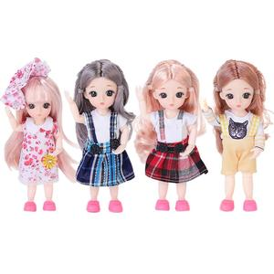 20*10*10cm BJD Doll Mohair Doll With Wig 3D Eyes With Clothes Outfit Shoes Wig Hair Makeup Movable Joints Doll For Girls Gift(China)