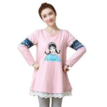 Maternity Long Sleeve Loose Cute Casual Shirts Pregnant Women Autumn Lace Patchwork O-Neck Blouses Pregnancy Clothes