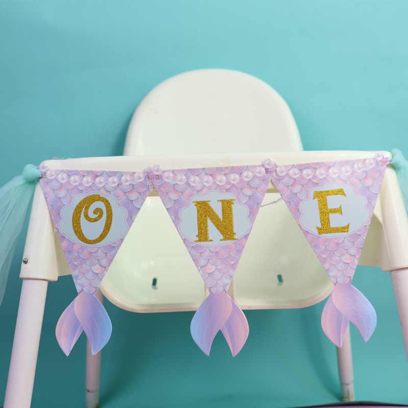 Un an anniversaire fête décoration noël bébé rehausseur sièges chaises hautes décor sirène thème nouveau-né sirène queue drapeaux
