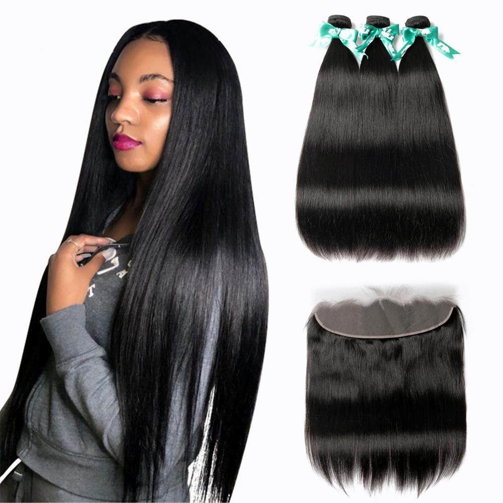 Beaudiva Brazilian Straight Hair Weave 3 Bundles With 13*4 Frontal Closure Lace Frontal With Human Hair Extension Hair Bundles