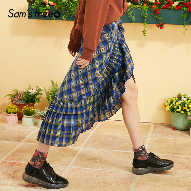 Samstree Blue Plaid Ruffle Hem Brit Graphics Skirt Women 2019 Autumn Preppy Asymmetrical British Casual Office Ladies Skirt
