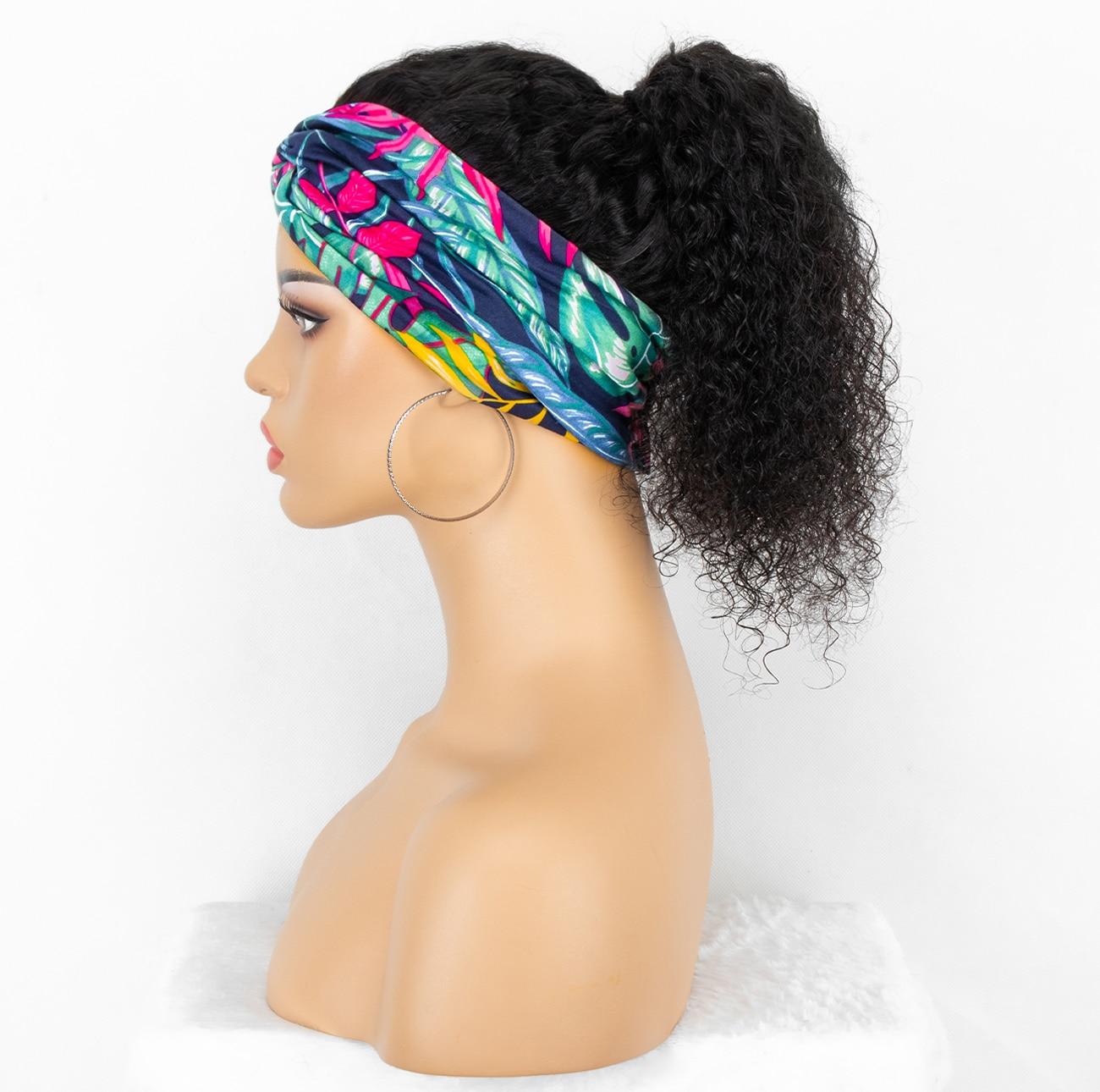 Kinky Curly Head Band Wigs Human Hair Brazilian  Curly Human Hair Wigs Glueless Full Machine Made Wigs  Scarf Headband Wig Remy