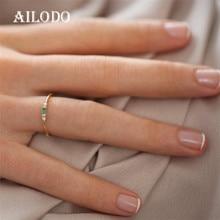 Ailodo anelli sottili minimalisti per donna 3 colori Cubic Zirconia Party Wedding anelli di barretta femminili gioielli di moda regalo per ragazze
